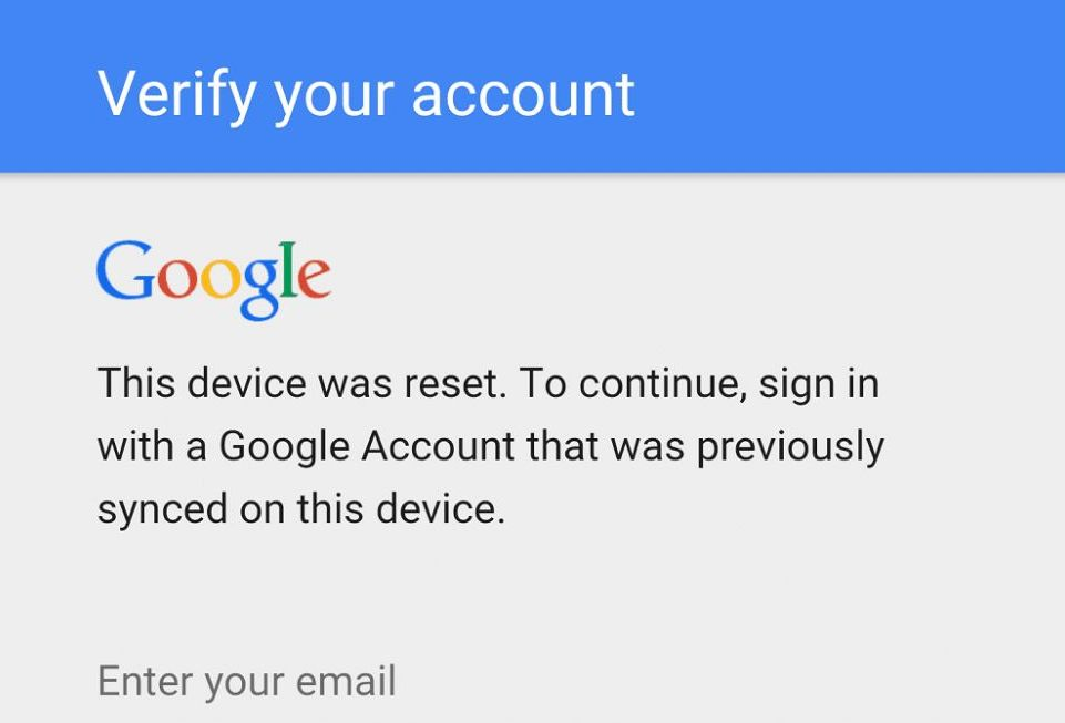 Factory Reset Protection Lock (FRP)