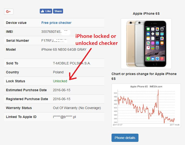 IMEI24 com iPhone Sold To Initial Carrier and lock status check